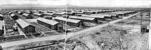 June 6, 1943: Panorama of the Poston, the Japanese relocation center near Parker, Arizona. This image was published in the June 8, 1943, LA Times. Panorama made from three prints assembled together.