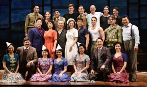 "Actor George Takei (3rd from L, 2nd row) and others on the cast of Broadway musical ""Allegiance"" appear on stage at the Longacre Theater in New York on Sept. 29, 2015. A preview for the musical, inspired by Take's own childhood experience in a U.S. internment camp for Japanese-Americans during World War II, began on Oct. 6 ahead of its official opening on Nov. 8. (Kyodo) ==Kyodo"